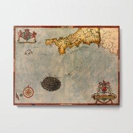 Map Of Cornwall 1588 Metal Print