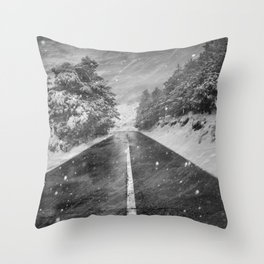 """""""Snowstorm in the road"""" At the mountains Throw Pillow"""