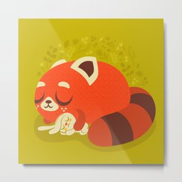 Sleeping Red Panda and Bunny / Cute Animals Metal Print