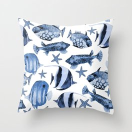 Fish Underwater Watercolor Pattern Throw Pillow