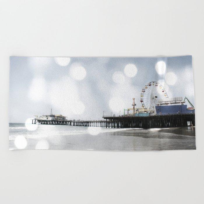 Sparkling grey Santa Monica Pier Beach Towel by Christine aka stine1