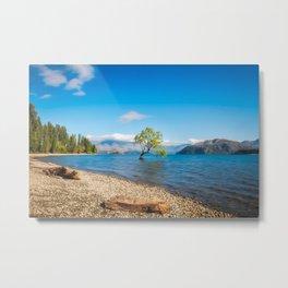 Clear blue morning at Lake Wanaka, New Zealand Metal Print