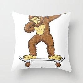 Skateboarding Bigfoot Sasquatch on Skateboard Gift for Skater  Throw Pillow