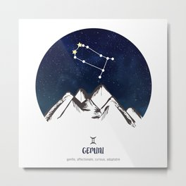 Astrology Gemini Zodiac Horoscope Constellation Star Sign Watercolor Poster Wall Art Metal Print