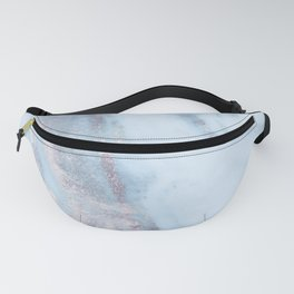 Light Blue Gray Marble Fanny Pack