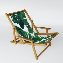 Tropical Nature Monstera Watercolor Painting, Botanical Jungle Dark Palm Illustration Sling Chair
