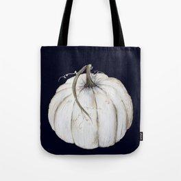 White pumpkin on navy Tote Bag