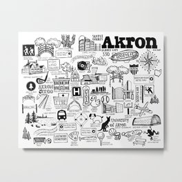 Akron Ohio Map Metal Print