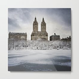 A view of the Eldorado building across the frozen lake of New York City's Central Park  Metal Print