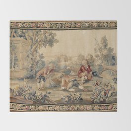 Aubusson  Antique French Tapestry Print Decke