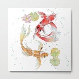 """Watercolor Painting of Picture """"Koi Pond"""" Metal Print"""