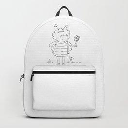 Little bee girl | digital art | black and white illustration Backpack