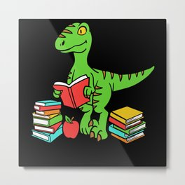 Velocireader Dinosaurs School School Books Motif Metal Print