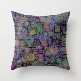 Hexagon Square Circle Modern Shape Collage Throw Pillow