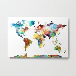 Colorful Watercolor World Map Metal Print