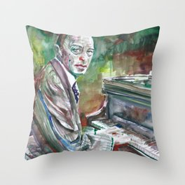 SERGEI RACHMANINOFF watercolor portrait.2 Throw Pillow