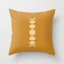 Minimal Moon Phases - Golden Orange Throw Pillow