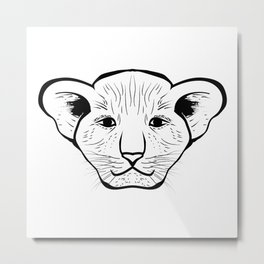 Black silhouette of a lion cub face. Lovely lion for pam, moms and toddlers, accessories. Metal Print