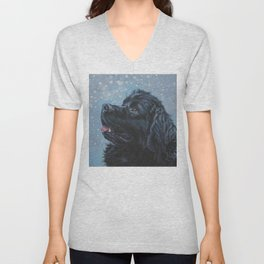 Newfoundland Dog Art Portrait from an original painting by L.A.Shepard Unisex V-Neck