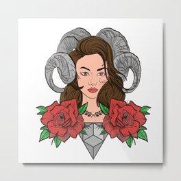 Horned Woman Metal Print