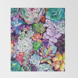Succulent Garden Throw Blanket