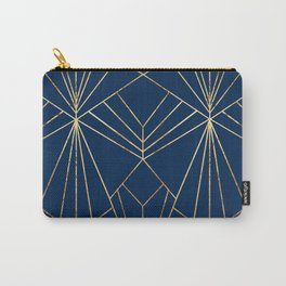 Navy & Gold Art Deco - Large Scale Carry-All Pouch