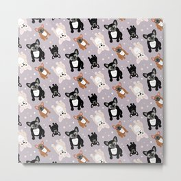 Frenchies Cute French Bulldog Pattern Metal Print