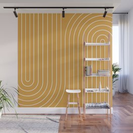 Minimal Line Curvature - Golden Yellow Wall Mural