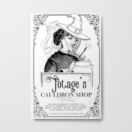 Potage's Cauldron Shop Advertisment Metal Print