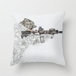 Shooter, Digital Composition by Nous Defions Designs. (www.nousdefionsdesigns.com) Throw Pillow