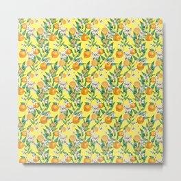 Pattern- watercolor lemon tree with fruits Metal Print