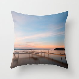 Saratoga Lake Sunset Throw Pillow