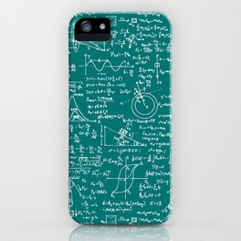 Physics Equations // Teal iPhone Case