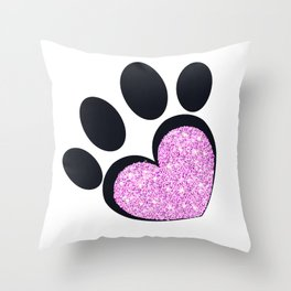 Paw print with sparkling pink heart vector illustration Throw Pillow