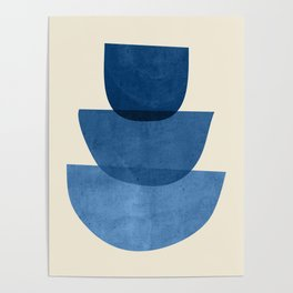 Abstract Shapes 37-Blue Poster