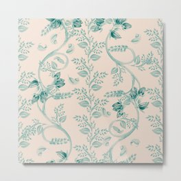 Contemporary Indian floral in watercolor - teal and send Metal Print