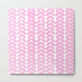 Hand-Drawn Herringbone (Pink & White Pattern) Metal Print