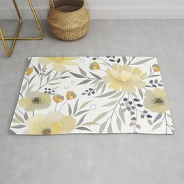 Modern, Floral Prints, Yellow, Gray and White Rug