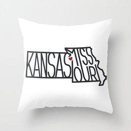 Kansas City Typography - Black Throw Pillow