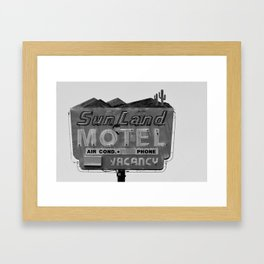 Vintage Neon Sign In Tucson - Sun Land Motel Framed Art Print