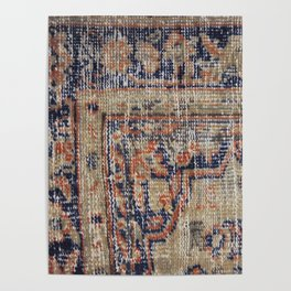 Vintage Woven Navy Blue and Tan Kilim  Poster