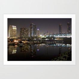 San Diego Embarcadero at night Art Print