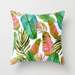 Not Enough Leaves #painting #tropical #pattern Throw Pillow
