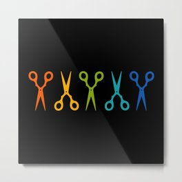 Rainbow Scissors Metal Print