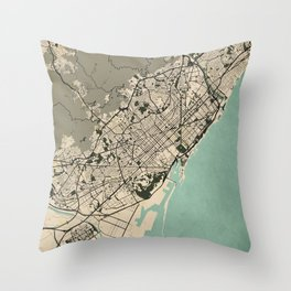 Barcelona City Map of Spain - Vintage Throw Pillow