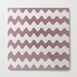 Pantone Red Pear Soft Zigzag Rippled Horizontal Line Pattern Metal Print