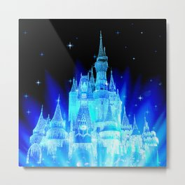 Blue Ice Frozen Enchanted Castle Metal Print