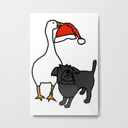 White Goose Steals Hat from Cute Dog Metal Print