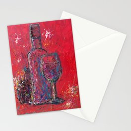 Fun Colorful Modern Wine Art  Fun Colorful Modern Wine Art (wine bottle & glasses) by lena owens Stationery Cards
