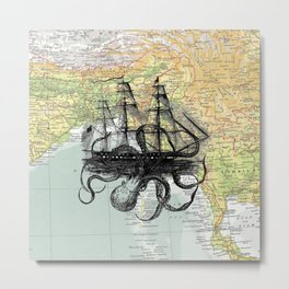 Octopus Attacks Ship on map background Metal Print